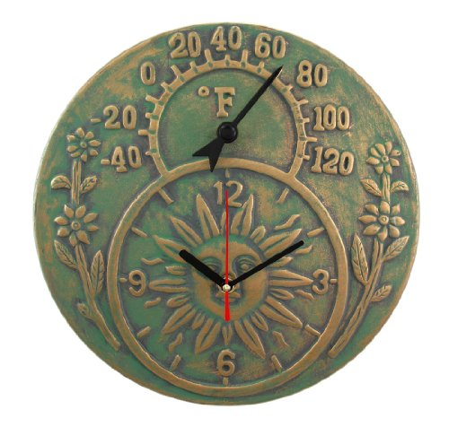 Verdigris Finish Terracotta Sun Face Clock / Thermometer