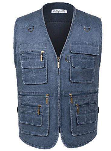 Eidlvais Men's Multi-Pockets Vest For Outdoors Travels Sports Blue Size M - Multi Zipper Vest