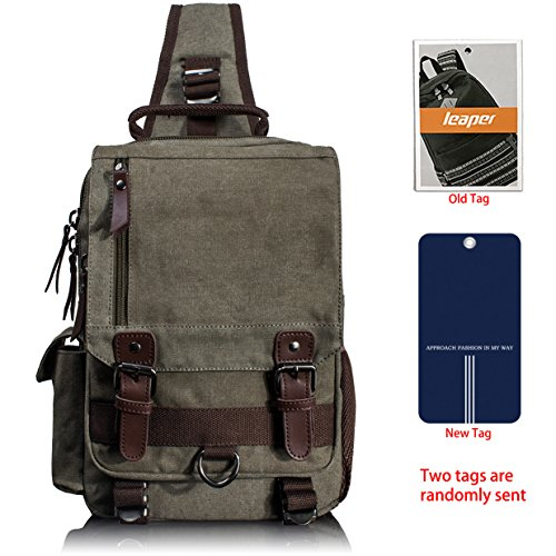 Sling Messenger Small Army Leaper Canvas Briefcase Green Shoulder Body Men's m Bag Cross Rucksack w00TIq