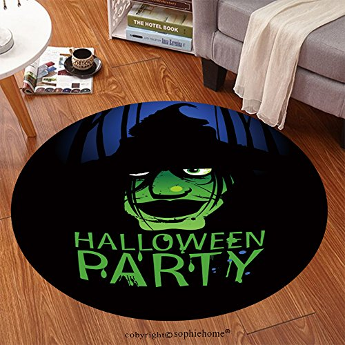 Sophiehome Soft Carpet 152546030 Halloween Party Design template with witch and place for text Anti-skid Carpet Round 79 inches ()