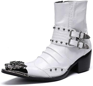 Amazon.com: Botas de piel para hombre de Hy, botas de Martin ...
