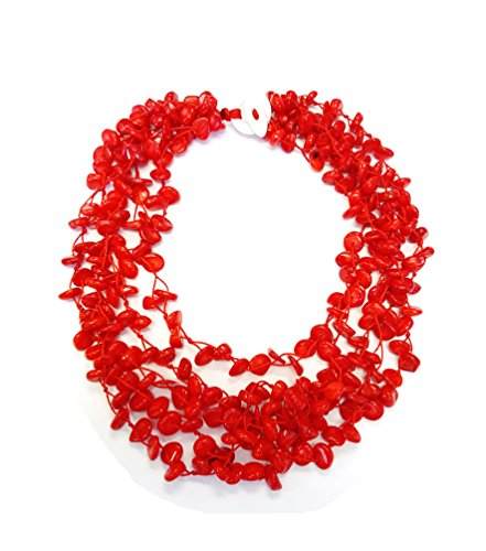 Regalia by Ulti Ramos Multi Strand Chips Necklace with Mother of Pearl Toggle Clasp (Red)