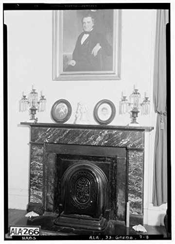 8 x 12 Photo 8. Historic American Buildings Survey Alex Bush, Photographer, April 8, 1935 Fireplace in N.W. Front Room Down Stairs - Glencairn, Tuscaloosa Street, Greensboro, Hale County 1890 28a by Vintography