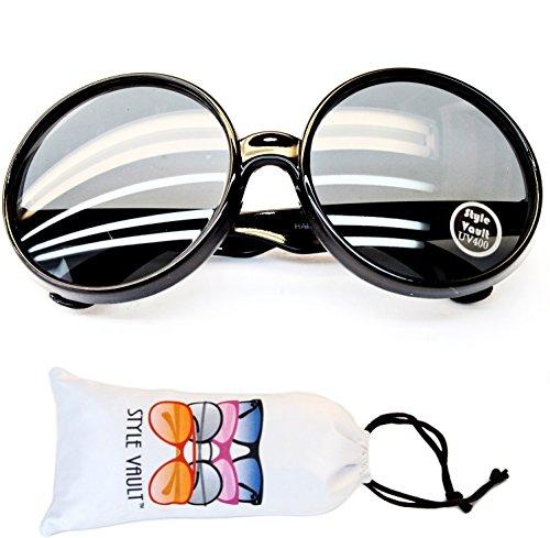 V3122-vp Style Vault Oversize XL shape Round Sunglasses (B3331F black, - Mens Glasses Trends 2018