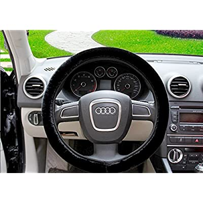 Zone Tech Plush Stretch- On Vehicle Steering Wheel Cover – Classic Black Premium Quality Comfy Car Steering Wheel Protector: Automotive