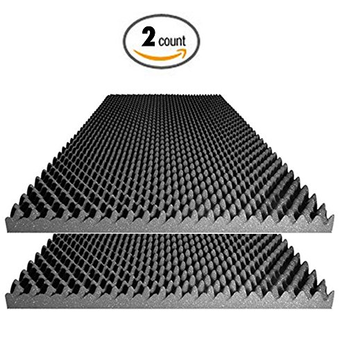 Acoustic Foam 2.5' Egg Crate Panel Studio Foam Wall Panel 48' X 24' X 2.5' (2 Pack)