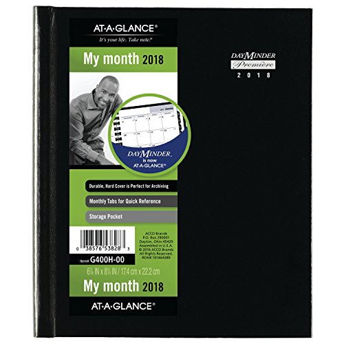 "AT-A-GLANCE DayMinder Monthly Planner, January 2018 - December 2018, 6-7/8"" x 8-3/4"", Hard Cover, Black (G400H00)"