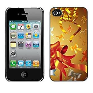 YOYO Slim PC / Aluminium Case Cover Armor Shell Portection //Christmas Holiday Gold Decorations 1070 //Apple Iphone 4