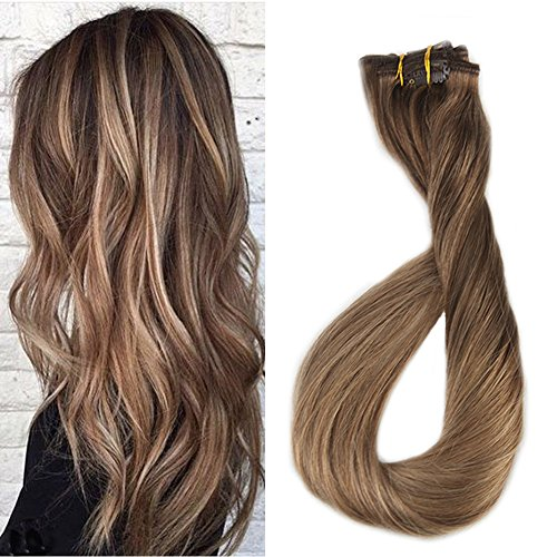 Full Shine 18inch 100 Human Hair Clip in Biscuit Balayage Extensions Blonde Ombre Color #4 Fading to #10 and #27 Blonde Dip Dyed Ombre Clip Straight Human Hair Extensions 9 Pcs 120 Gram