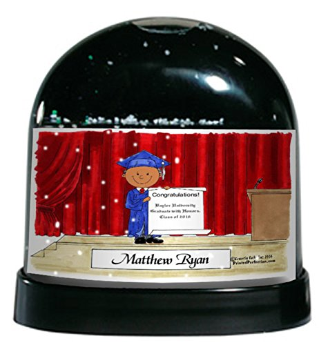 Personalized Friendly Folks Cartoon Caricature Snow Globe Gift: Graduation - Male Great for high school, college, tech school graduation