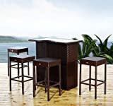 New MTN-G 5pc Outdoor Rattan PE Wicker Bar Set Bistro Patio Dining Furniture Table Stool
