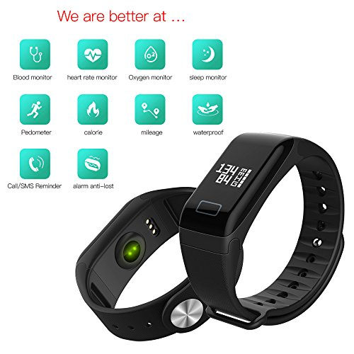 Fitness Tracker,MocDoo Smart Bracelet,BT 4.0/IP65,Heart Rate/Blood Pressure/Sleep Monitor,Oximetry/Fatigue Measurement,Sport Pedometer/Mileage/Calorie Record,Message/Call Reminder for Android/IOS