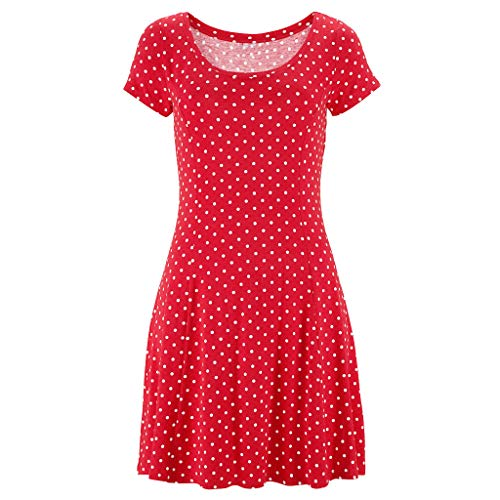 Womens Casual Bohemian Short Sleeve Dot Printed Above Knee Dress Party DressGirls' Fashion by Youngh Red by Youngh Dress (Image #1)