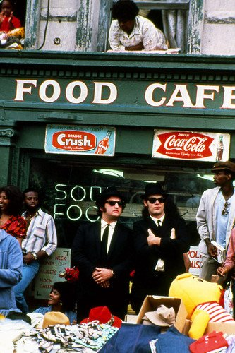 Dan Aykroyd And John Belushi In The Blues Brothers Outside Soul Food