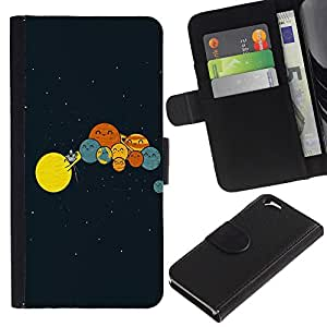 Ihec-Tech / Flip PU Cuero Cover Case para Apple Iphone 6 4.7 - Funny Planets Comedy