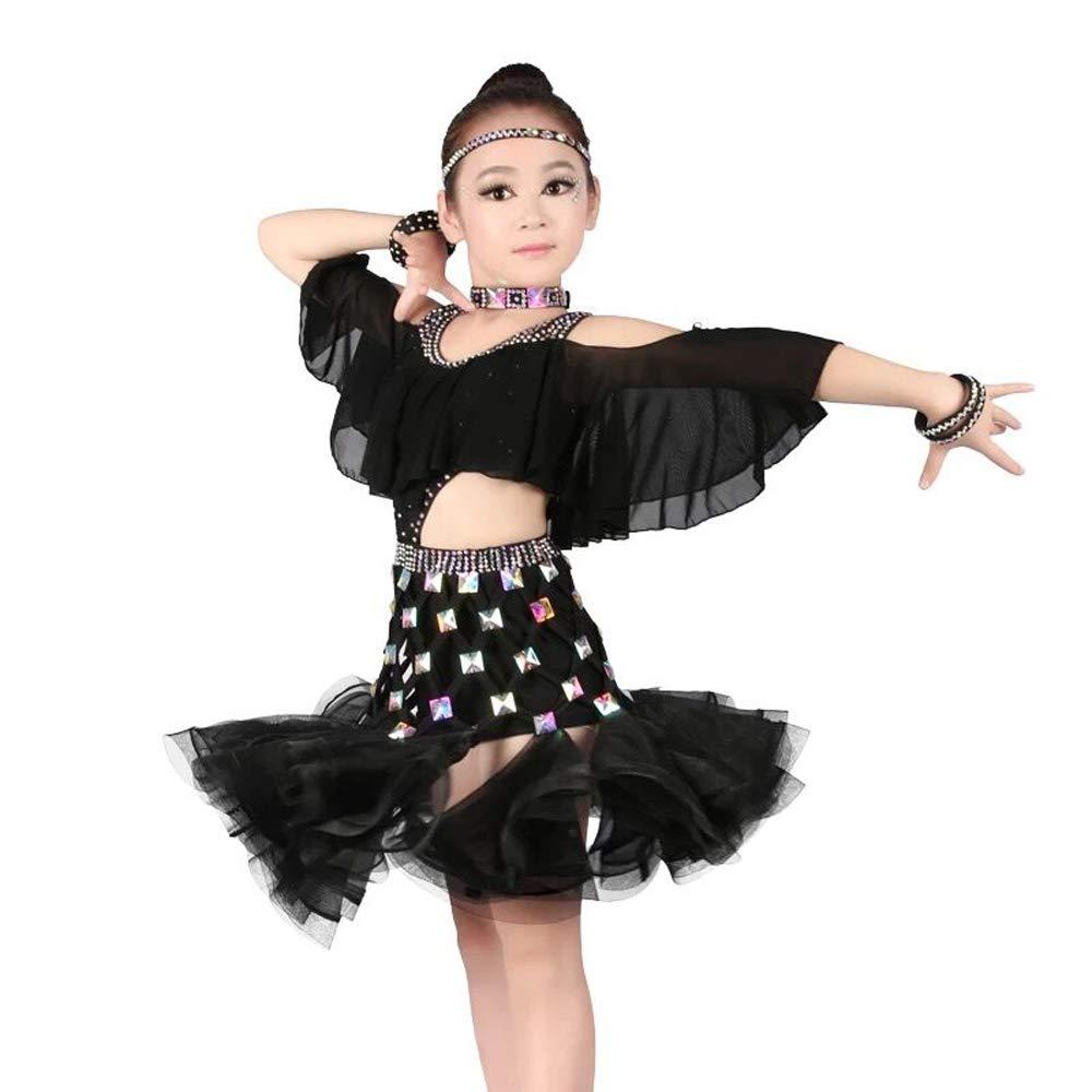 Noir 130cm YONGMEI Costume de Spectacle Latin pour Enfants avec Diahommets VêteHommests de Danse