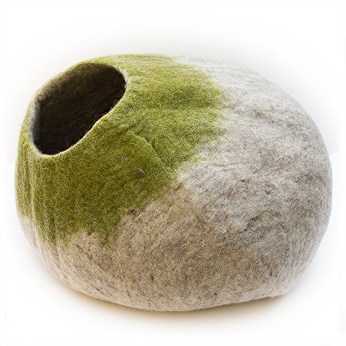 Kittycentric Cozy Cat Cave Bed - Handmade 100% Wool, Large (Light Tan/Green)
