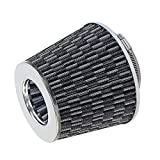 3in cone air filter - BUSIDN Carbon Fiber Style Universal Chrome Air Intake Filter with Cone Shape 3