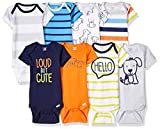 Onesies Brand Baby Boys' 8-Pack Short-Sleeve Bodysuit, Dog, 0-3 Months