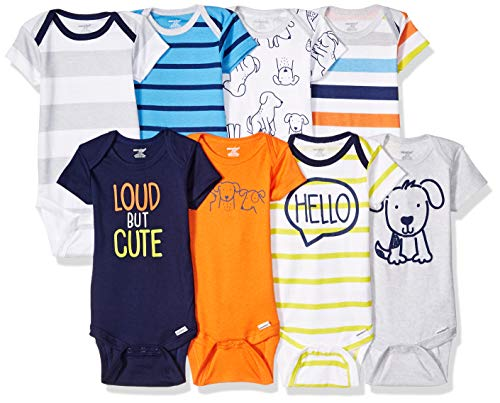 Onesies Brand Baby Boys' 8-Pack Short-Sleeve Bodysuit, Dog, 6-9 Months (Body Suit For Dogs)