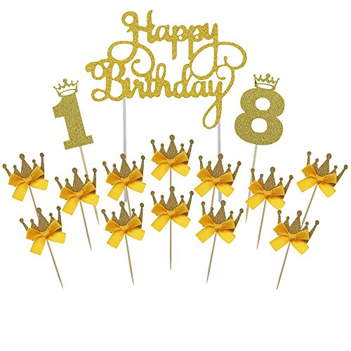 Gold Happy Birthday Cake Topper 18th Number Crown Cupcake Picks For Theme Party Dessert Table Decor Supplies by GOCROWN -