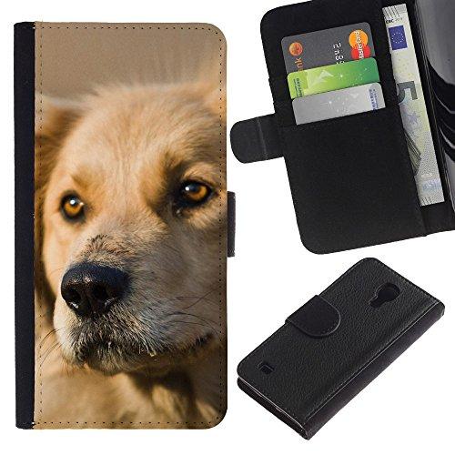 LASTONE PHONE CASE / Lujo Billetera de Cuero Caso del tirón Titular de la tarjeta Flip Carcasa Funda para Samsung Galaxy S4 IV I9500 / Labrador Retriever Dog Golden Canine Pet