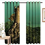 Qenuanmpo Pattern Curtains Medieval,Tower of Magician on Hill with Flower Meadow Greenery Fairytale