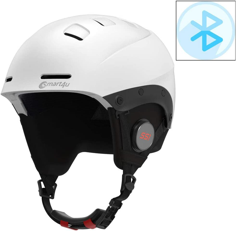 Casco de esquí inalámbrico Bluetooth modelo de gama alta casco de esquí deportivo impermeable bluetooth, adecuado para entrenamiento de esquí y molde de protección de competencia de esquí,Blanco,L