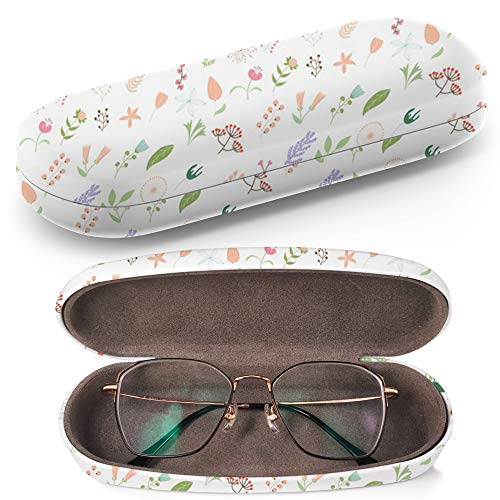 Hard Shell Glasses Protective Case Box + Cleaning Cloth - Fits most Eyeglasses and Sunglasses (Flower Clip ()