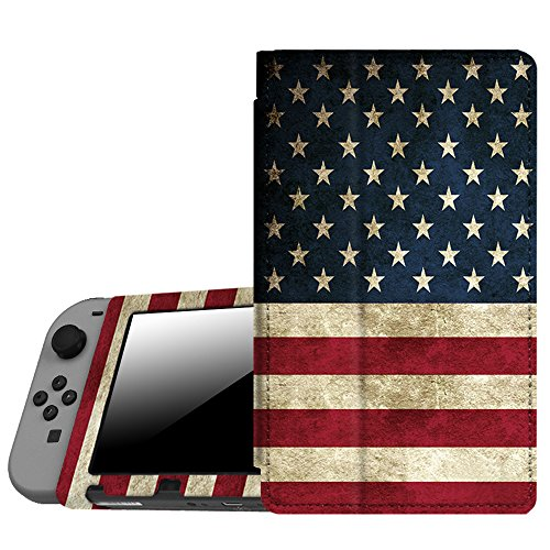 (Fintie Protective Case for Nintendo Switch - Premium PU Leather Slim Fit Play Stand Cover for Nintendo Switch 2017, US Flag)