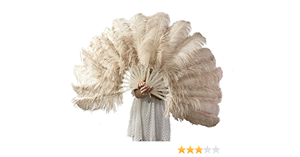 A pair light  grey  single layer Ostrich Feather Fan Burlesque set of 2 fans with Travel leather Bag