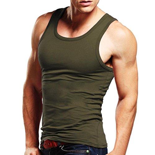 Xudian Men Tank Top Sleeveless A-shirt Crew-neck, US Size: Large, Asian Size: XX-Large (Army Green)
