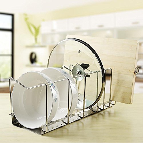 kes stainless steel dish rack kitchen pot pan lid cutting board adjustable organizer holder with. Black Bedroom Furniture Sets. Home Design Ideas
