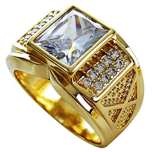 Ahappy-18k Gold Filled Mens Wedding Engagement Ring Band R206