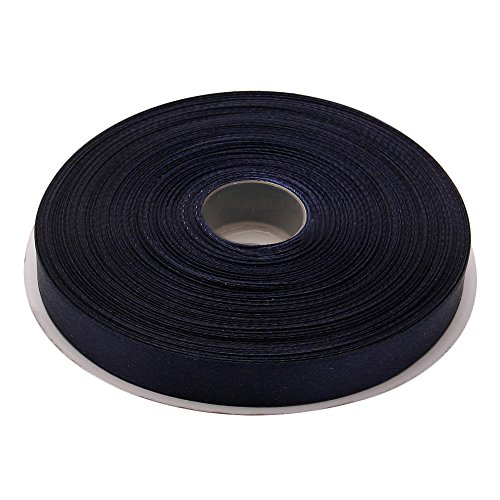 Topenca Supplies 1/2 Inches x 50 Yards Double Face Solid Satin Ribbon Roll, Navy Blue