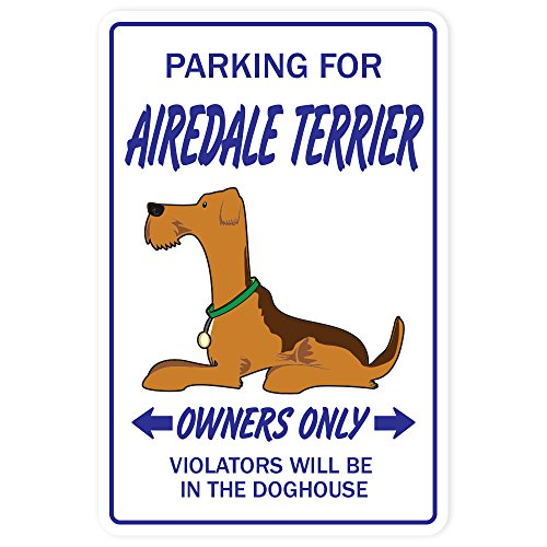 Airedale Terrier Novelty Aluminum Sign | Indoor/Outdoor | Funny Home Décor for Garages, Living Rooms, Bedroom, Offices | SignMission Gift Dogs Groomer Puppy Pup Sign Wall Plaque Decoration