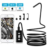 Adkwse 33FT Wireless Endoscope 1200P WiFi Borescope Inspection Camera IP68 Waterproof Semi-Rigid Snake Endoscope with 8 Adjustable LEDs 2.0 MP HD Borescope Inspection Camera for Android iOS