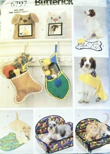 Butterick Sewing Pattern 6797 - Use to Make - Dog / Pet Gift Items / Accessories ()