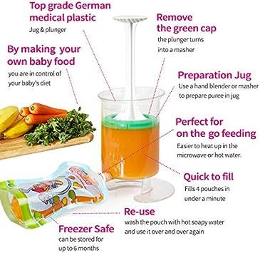 beb/és refrigerios y viajes alimentos Fill n Squeeze,sistema bolsas de destete