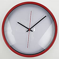 Metal Clock, Timelike 12 Metal Round Wall Clock with Modern and Classic Design for Living Room Large Kitchen Wall Clock Battery Operated (Red)