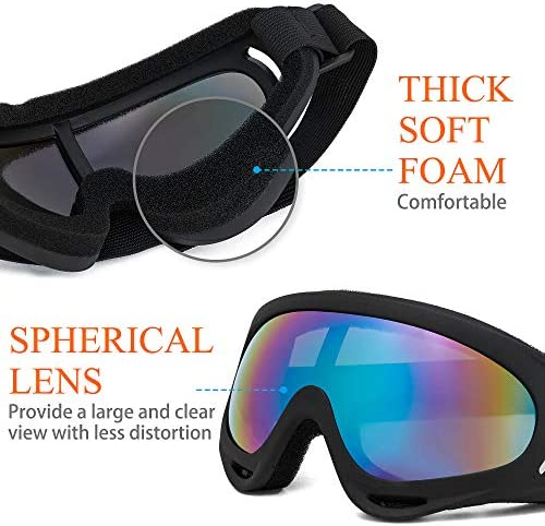 2 Pack Ski Goggles Snowboard Goggles for Men Women & Youth, Kids, Boys & Girls, Snow Goggle Winter Skiing Sport Goggles with Helmet Anti Fog Protection, Anti-Glare Lenses, Wind Resistance