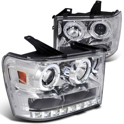 (Spec-D Tuning 2LHP-SIE07-TM GMC Sierra 1500/2500/3500 Chrome Clear Halo LED DRL Projector)