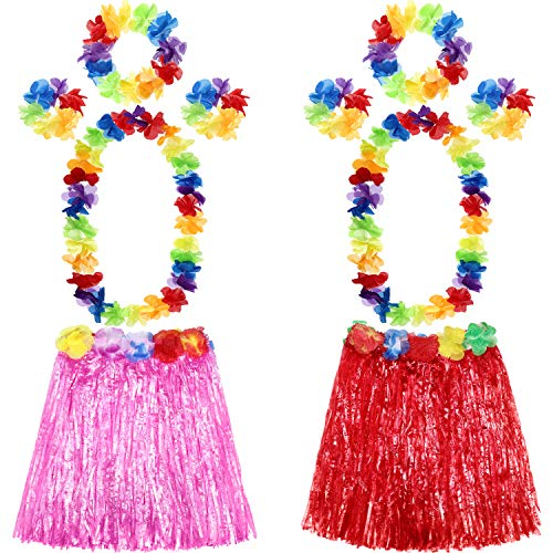 Shappy 2 Sets Hawaiian Hula Grass Skirt with Flower Leis Hawaiian Costume Set, Elastic Luau Grass and Hawaiian Flower Bracelets, Headband, Necklace for Party Favors (Pink, Red)