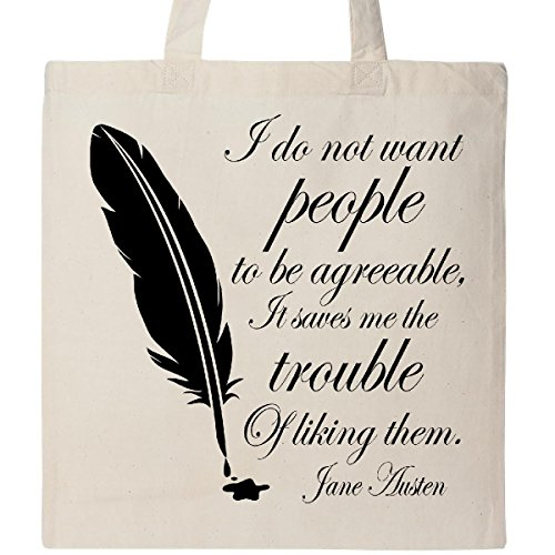 Inktastic Jane Austen quote Agreeable people Tote Bag (Jane Austen Tote Bag)
