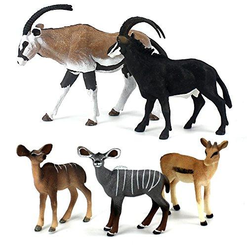 - FUNSHOWCASE African Jungle Animals Toy Antelopes Figure Realistic Plastic Figurine Playset Lot 5-Piece