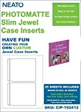 NEATO PhotoMatte CD DVD Slim Jewel Case Inserts - 25 Sheets - 50 Inserts Total - CIP-192412 - Online Design Access Code Included
