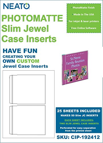 NEATO PhotoMatte CD DVD Slim Jewel Case Inserts - 25 Sheets - 50 Inserts Total - CIP-192412 - Online Design Access Code (Glossy Inkjet Inserts)