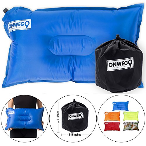 - ONWEGO Camping Pillow/Inflatable Air Pillow- 20in x 12in, 10.5oz, Self Inflating, Compressible- Best for Outdoor Trips, Backpacking, Hiking, Beach, Travel, Motorcycle, Car