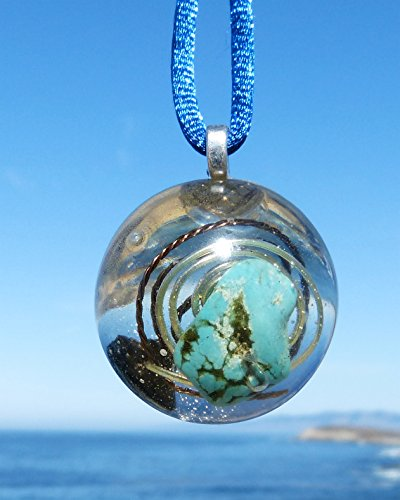 BLACK TOURMALINE and TURQUOISE Positive Energy Orgone Dome Pendant with Bronze and Silver ()