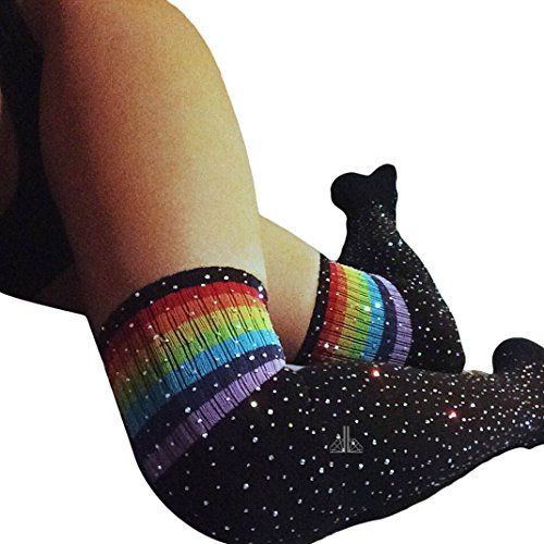 Womens Stripe Tube Dresses Over the Knee Thigh High Stockings Cosplay Socks with Drilling Shiny Rhinestone (Simple Rave Outfits)